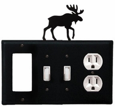 GFI, Double Switch and Outlet Cover, Moose, Wrought Iron