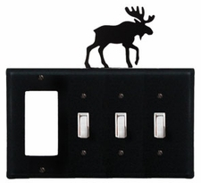GFI and Triple Switch Cover, Moose, Wrought Iron