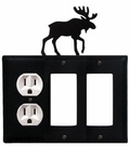 Outlet and Double GFI Cover, Moose, Wrought Iron