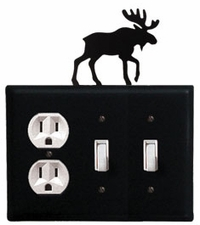 Outlet and Double Switch Cover, Moose, Wrought Iron