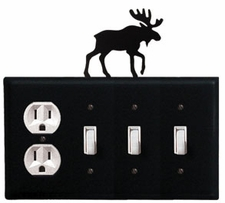 Outlet and Triple Switch Cover, Moose, Wrought Iron