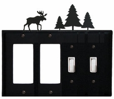 Double GFI & Double Switch Cover, Moose & Pine Trees, Wrought Iron