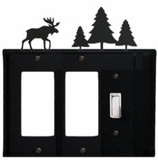 Double GFI and Switch Cover, Moose & Pine Trees, Wrought Iron