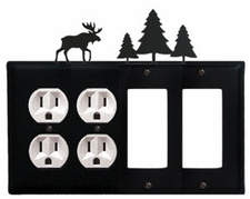 Double Outlet & Double GFI Cover, Moose & Pine Trees, Wrought Iron