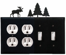 Double Outlet & Double Switch Cover, Moose & Pine Trees, Wrought Iron