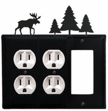 Double Outlet and GFI Cover, Moose & Pine Trees, Wrought Iron