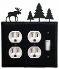 Double Outlet and Switch Cover, Moose & Pine Trees, Wrought Iron