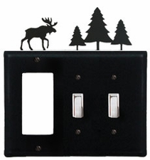 GFI and Double Switch Cover, Moose & Pine Trees, Wrought Iron