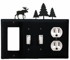 GFI, Double Switch and Outlet Cover, Moose & Pine Trees, Wrought Iron