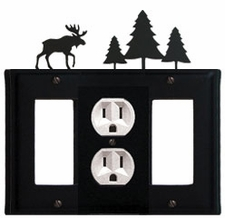 GFI, Outlet and GFI Cover, Moose & Pine Trees, Wrought Iron