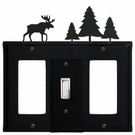GFI, Switch and GFI Cover, Moose & Pine Trees, Wrought Iron