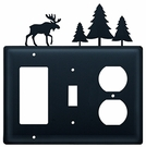 GFI, Switch and Outlet Cover, Moose & Pine Trees, Wrought Iron