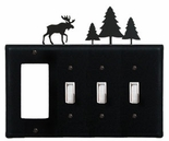 GFI and Triple Switch Cover, Moose & Pine Trees, Wrought Iron
