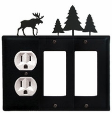 Outlet and Double GFI Cover, Moose & Pine Trees, Wrought Iron