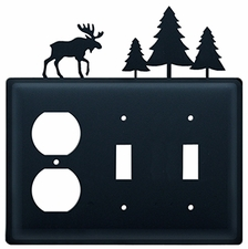 Outlet and Double Switch Cover, Moose & Pine Trees, Wrought Iron