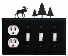 Outlet and Triple Switch Cover, Moose & Pine Trees, Wrought Iron