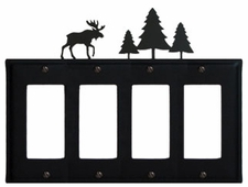 Quad GFI Cover, Moose & Pine Trees, Wrought Iron