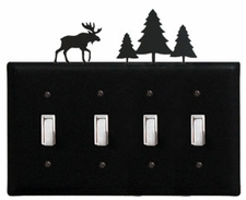 Quad Switch Cover, Moose & Pine Trees, Wrought Iron