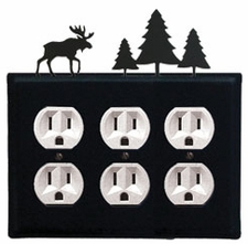 Triple Outlet Cover, Moose & Pine Trees, Wrought Iron