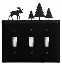 Triple Switch Cover, Moose & Pine Trees, Wrought Iron