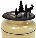 Candle Jar Topper, Moose & Pine Trees, Wrought Iron