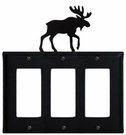 Triple GFI Cover, Moose, Wrought Iron