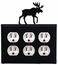 Triple Outlet Cover, Moose, Wrought Iron