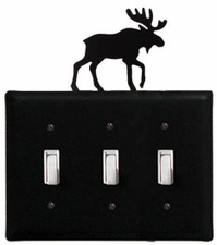 Triple Switch Cover, Moose, Wrought Iron