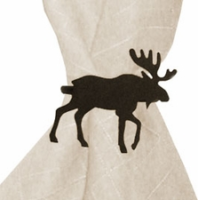 Napkin Ring, Wrought Iron, Moose, Set of 4