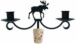 Moose - Wrought Iron Wine Bottle Topper - Candelabra