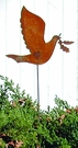 Lawn / Garden Stake, Dove, Rusted, Natural