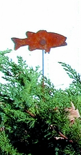 Lawn / Garden Stake, Fish, Rusted, Natural