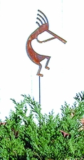 Lawn / Garden Stake, Kokopelli, Rusted, Natural
