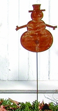 Lawn / Garden Stake, Snowman, Rusted, Natural