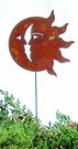 Lawn / Garden Stake, Sun, Moon, Rusted, Natural