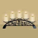 PILLAR CANDLE HOLDERS, WROUGHT IRON