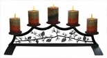 Fireplace Candle Holder, Wrought Iron, Pinecones