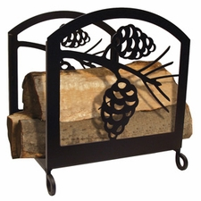 Fireplace Wood Rack, Pinecones, Wrought iron