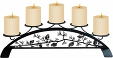 Pillar Candle Holder, Pinecones, Wrought Iron