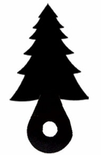 Silhouette for Cabinet Door, Pine Tree, Black Wrought Iron