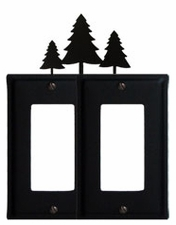 Double GFI Cover, Pine Trees, Wrought Iron