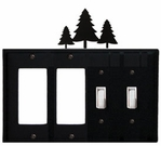 Double GFI & Double Switch Cover, Pine Trees, Wrought Iron