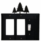 Double GFI and Switch Cover, Pine Trees, Wrought Iron