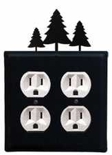 Double Outlet Cover, Pine Trees, Wrought Iron