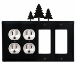 Double Outlet & Double GFI Cover, Pine Trees, Wrought Iron