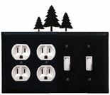 Double Outlet & Double Switch Cover, Pine Trees, Wrought Iron