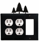 Double Outlet and GFI Cover, Pine Trees, Wrought Iron