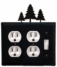 Double Outlet and Switch Cover, Pine Trees, Wrought Iron