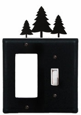 GFI and Switch Cover, Pine Trees, Wrought Iron