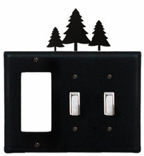 GFI and Double Switch Cover, Pine Trees, Wrought Iron